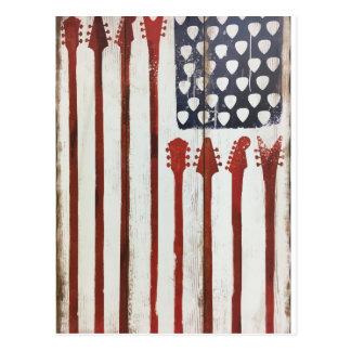 Flagge-patriotisches Gitarren-Musikthema Postkarten