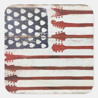 Flagge-patriotisches Gitarren-Musikthema Quadrat-Aufkleber