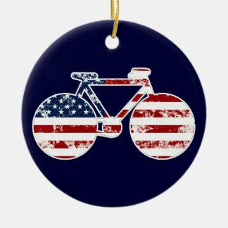 Flagge patriotisches USAradfahren Keramik Ornament