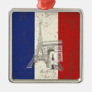 Flagge und Symbole von Frankreich ID156 Quadratisches Silberfarbenes Ornament