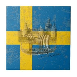 Flagge und Symbole von Schweden ID159 Fliese