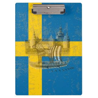 Flagge und Symbole von Schweden ID159 Klemmbrett