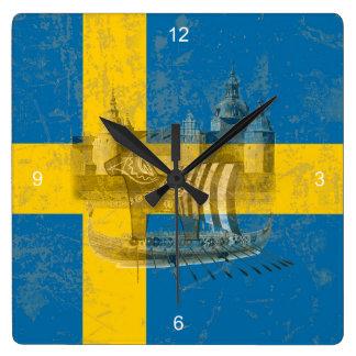 Flagge und Symbole von Schweden ID159 Quadratische Wanduhr