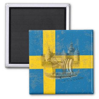 Flagge und Symbole von Schweden ID159 Quadratischer Magnet