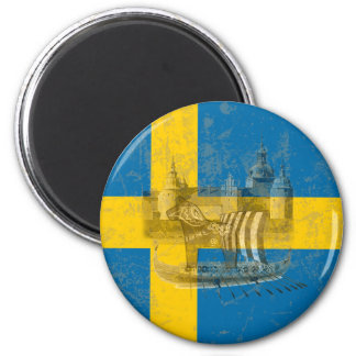 Flagge und Symbole von Schweden ID159 Runder Magnet 5,1 Cm