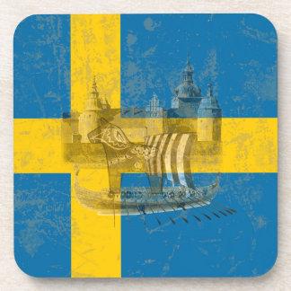 Flagge und Symbole von Schweden ID159 Untersetzer