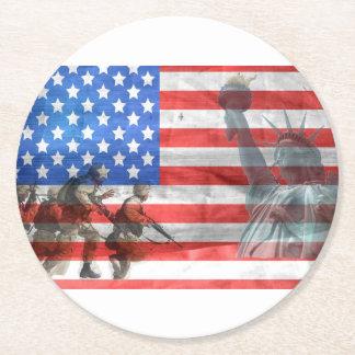 Flagge USA-Veteran personifizieren der Runder Pappuntersetzer