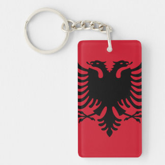 Flagge von Albanien Keychain Beidseitiger Rechteckiger Acryl Schlüsselanhänger