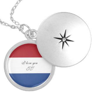 Flagge von den Niederlanden Versilberte Kette