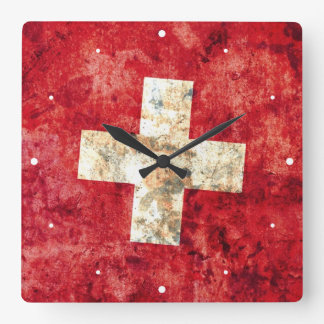 Flagge von der Schweiz Wanduhren
