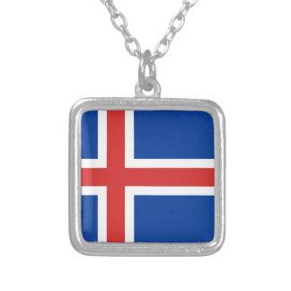 Flagge von Island Versilberte Kette