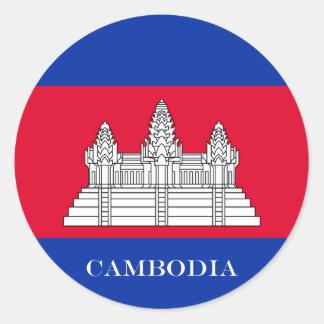 Flagge von Kambodscha Runder Aufkleber