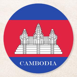 Flagge von Kambodscha Runder Pappuntersetzer