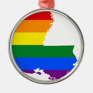 Flaggen-Karte Louisianas LGBT Silbernes Ornament