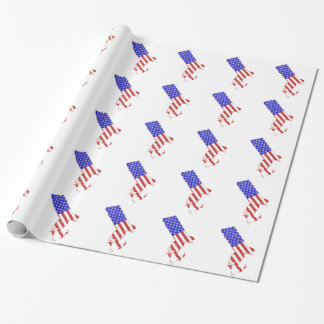 Flaggen-Silhouette-Staatskarte Massachusetts USA Geschenkpapier
