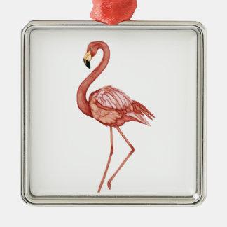 Flame Quadratisches Silberfarbenes Ornament