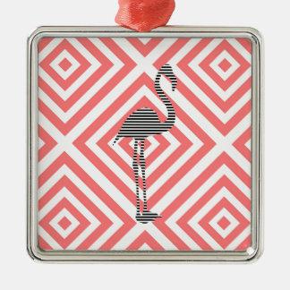 Flamingo - abstraktes geometrisches Muster - Rosa Silbernes Ornament