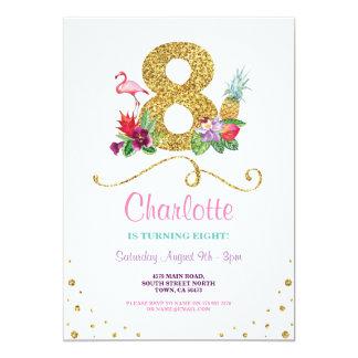 Flamingo Aloha 8. acht ein 8 Geburtstags-Party Karte
