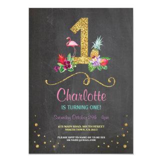 Flamingo Aloha erstes 1 1. Geburtstags-Party laden 12,7 X 17,8 Cm Einladungskarte