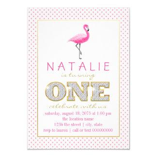 Flamingo-erstes Geburtstags-Party 11,4 X 15,9 Cm Einladungskarte