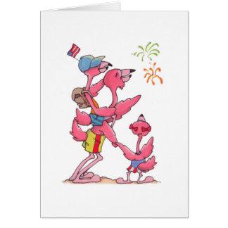 Flamingo-Familie am 4. Juli Notecard Karte