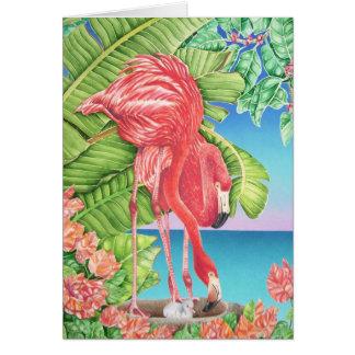 Flamingo-Familie Grußkarte