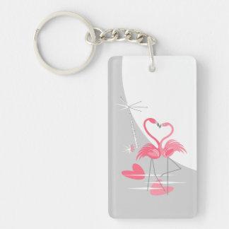 Flamingo-Liebe-großes Mondacrylrechteck Schlüsselanhänger