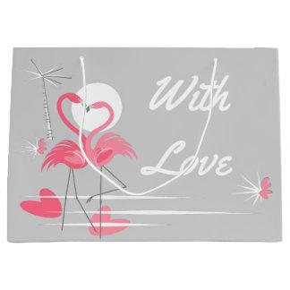 Flamingo-Liebe mit der Liebegeschenktasche groß Große Geschenktüte