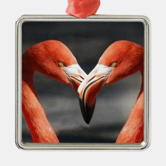 Flamingo-Liebe Quadratisches Silberfarbenes Ornament