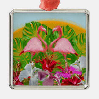 Flamingo Quadratisches Silberfarbenes Ornament