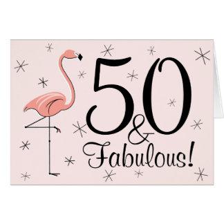 Flamingo-Rosa 50 und fabelhaftes! alles Gute zum Grußkarte