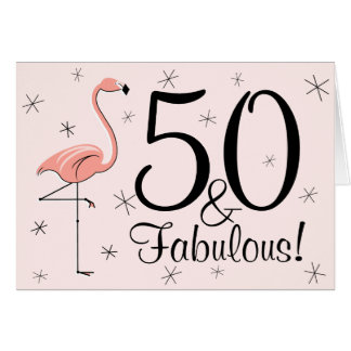 Flamingo-Rosa 50 und fabelhaftes! alles Gute zum Karte