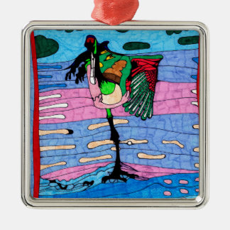 Flamingo Silbernes Ornament