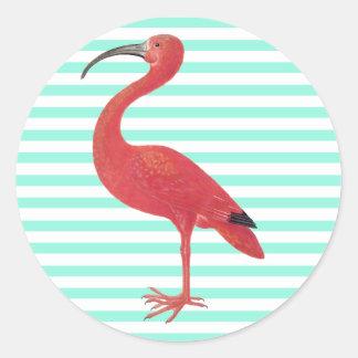 Flamingo u. aquamarine Streifen - feine Runder Aufkleber