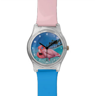 Flamingo und Palmen Armbanduhr