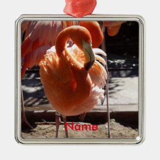 Flamingo-Verzierung Quadratisches Silberfarbenes Ornament