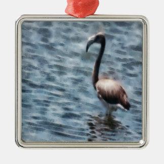 Flamingo-Vogel-Aquarell Quadratisches Silberfarbenes Ornament