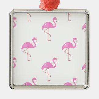 Flamingo-Vogel Quadratisches Silberfarbenes Ornament