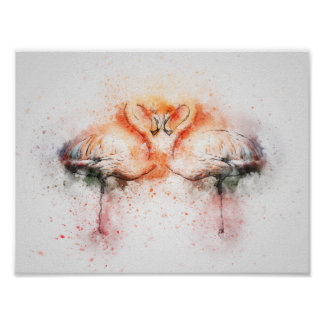 Flamingo-Wasserfarbe-Druck-Plakat Poster