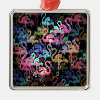 Flamingomuster Quadratisches Silberfarbenes Ornament