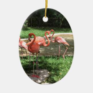Flamingos auf dem Riviera-Maya in Mexiko Ovales Keramik Ornament