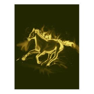 Flammenpferd, golden postkarte