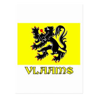 Flandern-Regions-Flagge mit Namen Postkarte