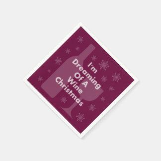 Flasche und Glas: Wein-Weihnachten Papierservietten
