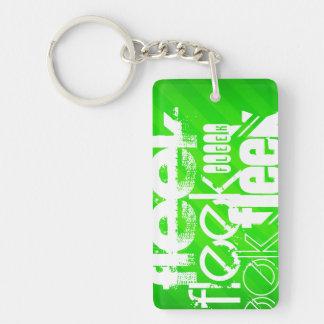Fleek; Grüne Neonstreifen Beidseitiger Rechteckiger Acryl Schlüsselanhänger