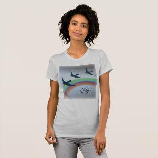 """""""Fliege"""", drei Drosseln mit Regenbogen im T-Shirt"""