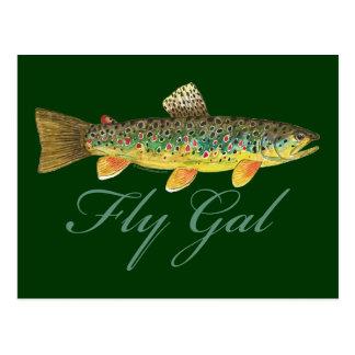 Fliegen-Fischen-Frau Postkarten