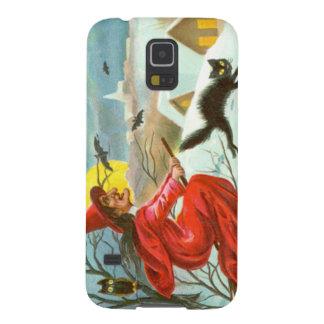 Fliegen-Hexe-schwarze Katzen-Eulen-Schläger-Schnee Samsung S5 Hülle
