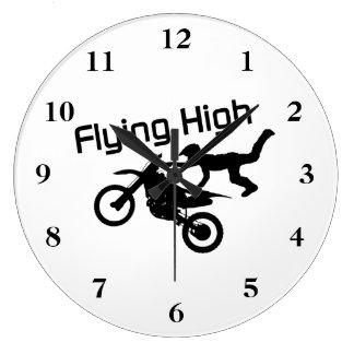 Fliegende hohe Schmutz-Fahrrad-Bremsung Große Wanduhr