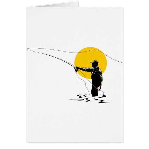 Fliegenfischer-Castingspule mit Fischenköderköder Karten